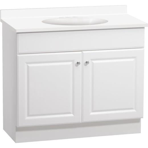 Continental Cabinets Richmond White 36-1/2 In. W x 35-1/4 In. H x 18-1/2 In. D Vanity with Cultured Marble Top
