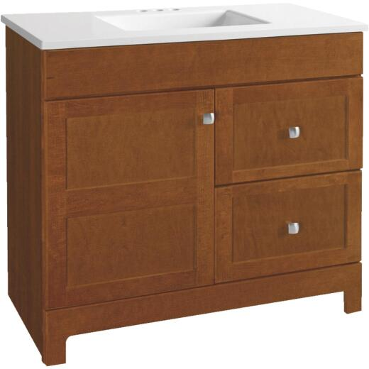 Continental Cabinets Allenton Auburn 36-1/2 In. W x 34-1/2 In. H x 19 In. D Vanity with Cultured Marble Top