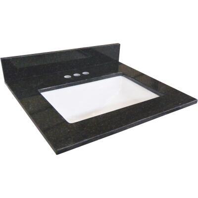 Design House 31 In. W x 22 In. D Black Granite Vanity Top with Rectangular Bowl