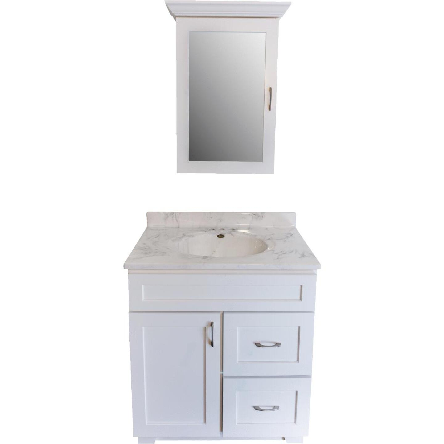 CraftMark Shaker Retreat White 30 In. W x 34 In. H x 21 In. D Vanity Base, 1 Door/2 Drawer Image 8