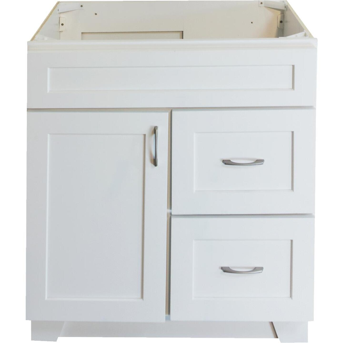 CraftMark Shaker Retreat White 30 In. W x 34 In. H x 21 In. D Vanity Base, 1 Door/2 Drawer Image 1