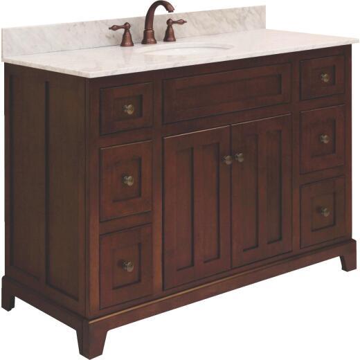 Sunny Wood Grand Haven Cherry 48 In. W x 34 In. H x 21 In. D Vanity Base, 2 Door/6 Drawer