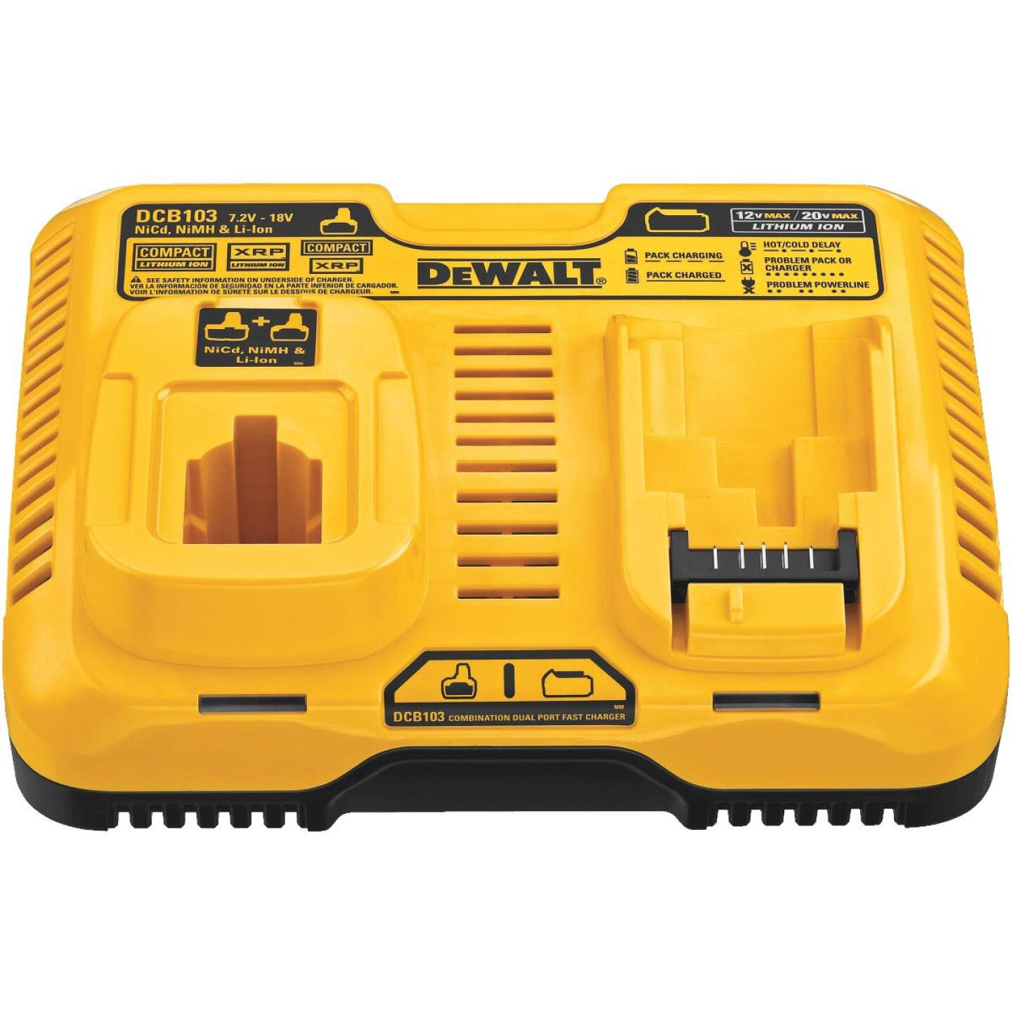 DeWalt 7.2 Volt to 20 Volt MAX Nickel-Cadmium/Nickel-Metal Hydride/Lithium-Ion Dual Port Fast Battery Charger Image 2