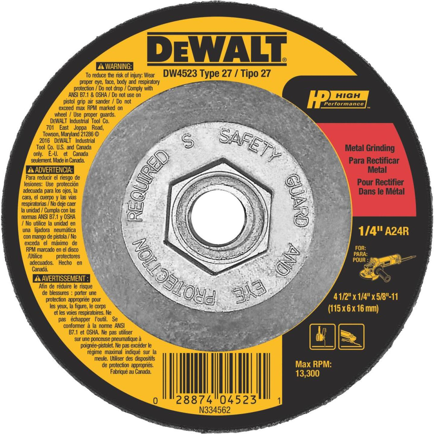 DeWalt High Performance 4-1/2 In. x 1/4 In. x 5/8 In.-11 Metal Cut-Off Wheel Image 1