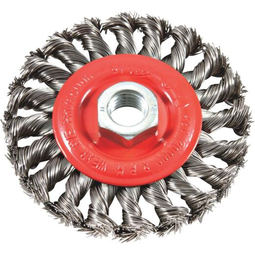 Forney 4 In. Twisted/Knotted 0.012 In. Angle Grinder Wire Wheel