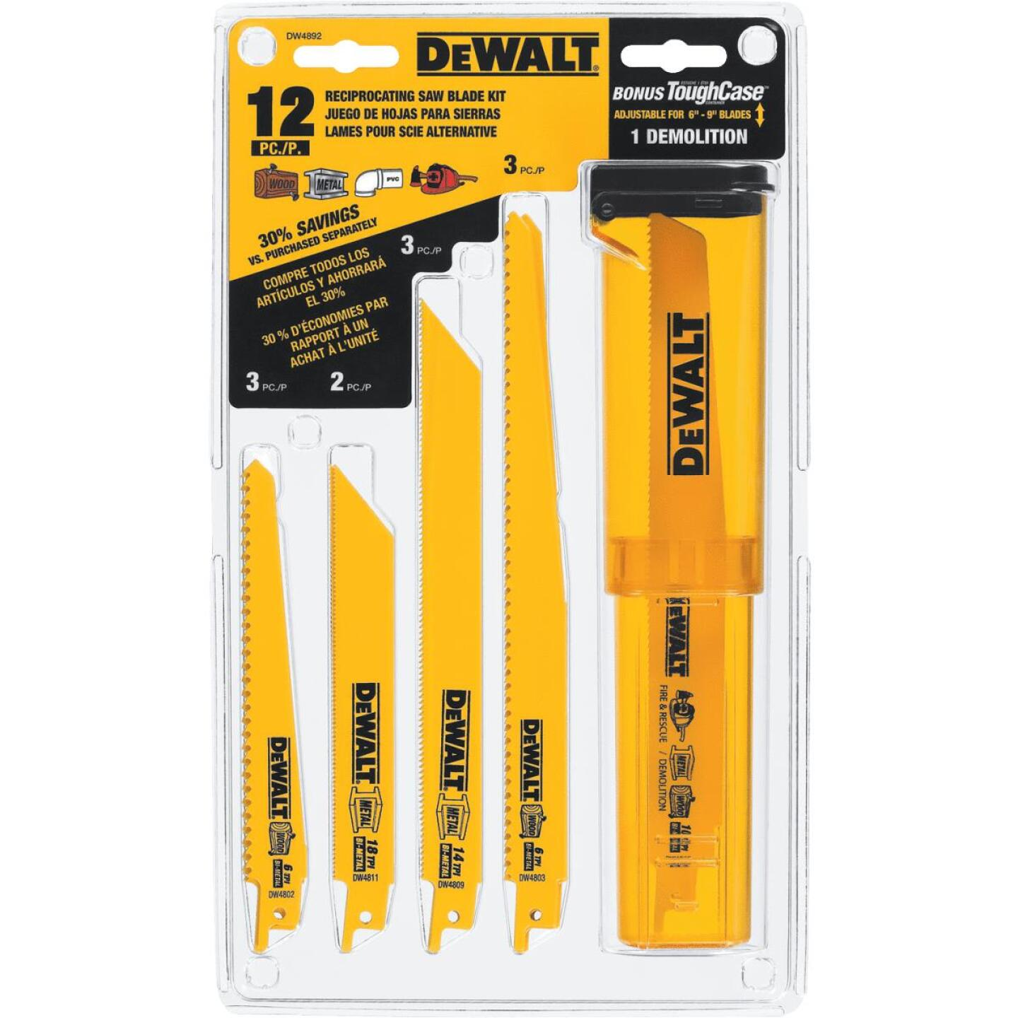 DeWalt 12-Piece Reciprocating Saw Blade Set Image 3