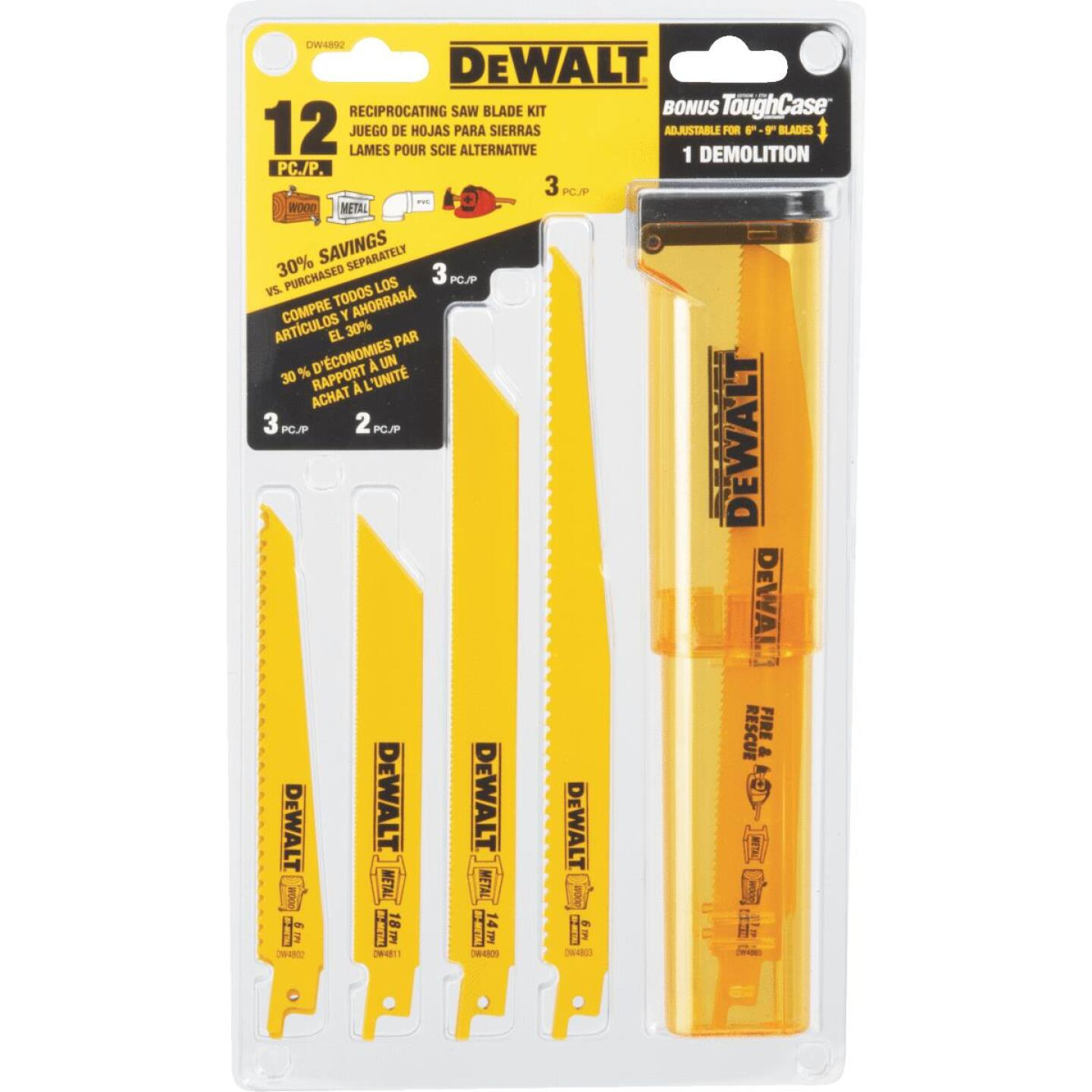 DeWalt 12-Piece Reciprocating Saw Blade Set Image 4