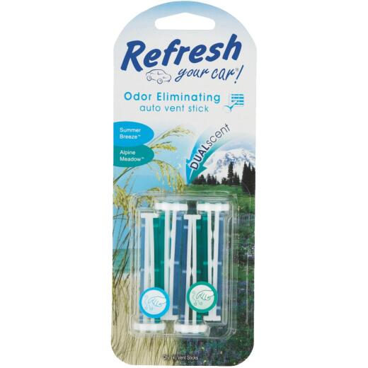 Refresh Your Car Vent Stick Car Air Freshener, Summer Breeze/Alpine Meadow (4-Pack)