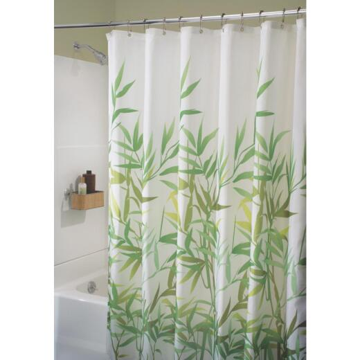 InterDesign York 72 In. x 72 In. Green Vine 100% Polyester Graphic Fabric Shower Curtain