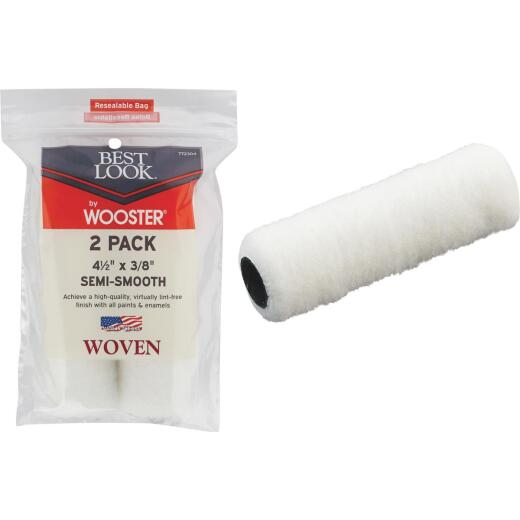 Best Look By Wooster 4-1/2 In. x 3/8 In. Mini Woven Fabric Roller Cover (2-Pack)