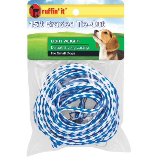 Westminster Pet Ruffin' it Light Weight Small Dog Tie-Out Braided Rope, 15 Ft.
