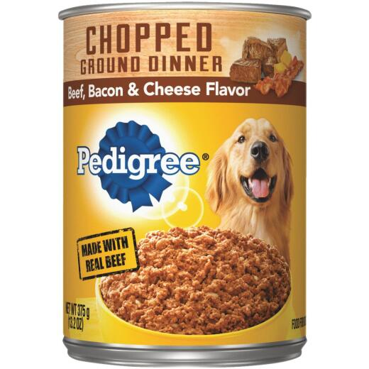Pedigree Meaty Ground Dinner with Chunky Beef, Bacon and Cheese Wet Dog Food, 13.2 Oz.