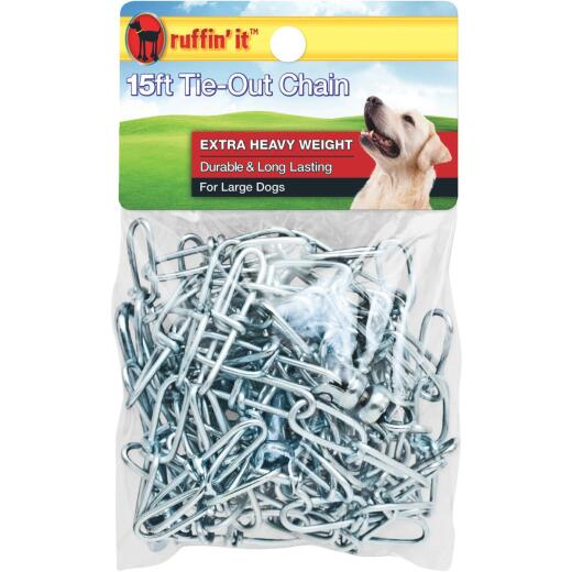 Westminster Pet Ruffin' it Extra Heavy Weight Large Dog Tie-Out Chain, 15 Ft.